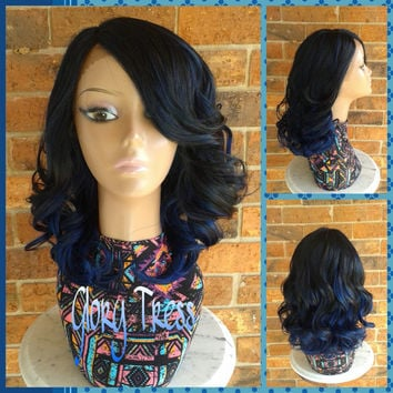 READY To SHIP // Short & Curly Lace Front Wig, Black Wig With Blue Streaks // SWEETNESS