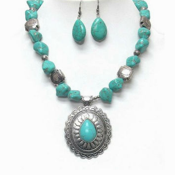 Turquoise Nugget and Silver Pendant Necklace