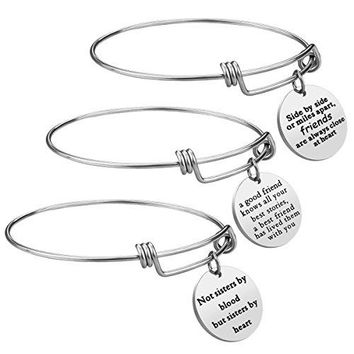 AUGUAU Best Friend Gift Charm Bracelet - 3 PCS Stainless Steel Expendable Inspirational Bangle Bracelets BFF Jewelry Set Christmas Gifts Graduation Gifts Birthday Gifts