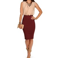 Ivory/Burgundy Colorblock Business Dress