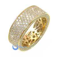 Wedding ETERNITY RING 7mm Band Pave Set Signity CZ 24K Gold over Sterling Silver