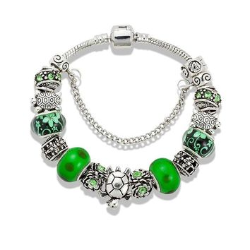 Pandora Style Green Glass Sea Turtle Bauble