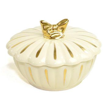 Gold Bow Ceramic Trinket / Jewelry Box Or Candy Dish   Glamorous Gilt Elegant Scalloped Design Shabby Chic    Vintage Home Decor