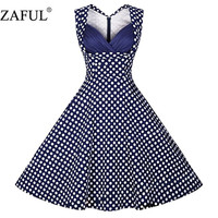 4XL Women Dress Summer Sleeveless Cut Out V Neck Vintage Dot 1950s 60s Big Swing Mini Party Casual Retro Dress Plus Size 05
