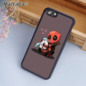 MaiYaCa Funny Deadpool unicorn Capa Phone Case Cover For iPhone 4 5 5s SE 6 6s 7 8 plus 10 X Samsung Galaxy S6 S7 S8 edge note 8