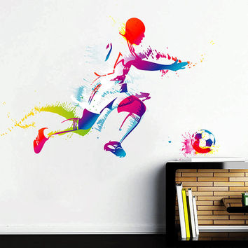 kcik108 Full Color Wall decal soccer football ball sport spray paint room Bedroom sports hall