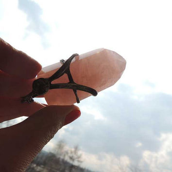 Natural pink QUARTZ, Statement pendant, pink Quartz, huge, raw, Single Crystal, statement necklace, energy, raw stone, meditation,stone