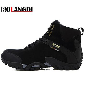 Bolangdi 2017 New Men Boots Autumn Winter Genuine Leather Plush Keep Warm Hiking Shoes Trekking Mountain Climbing Sneakers