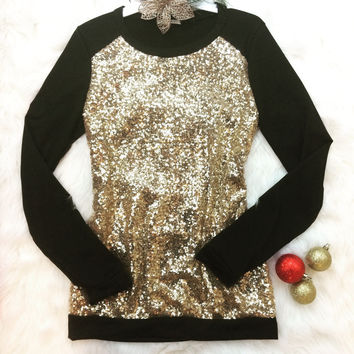 NYC NEW YEARS EVE SEQUIN SWEATER IN BLACK