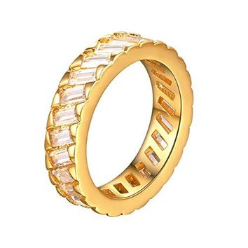 Round Cubic Zirconia Ring Wedding Channel Setting Ring 18k Gold Plated or Platinum Plated Ring For WomenSize 611