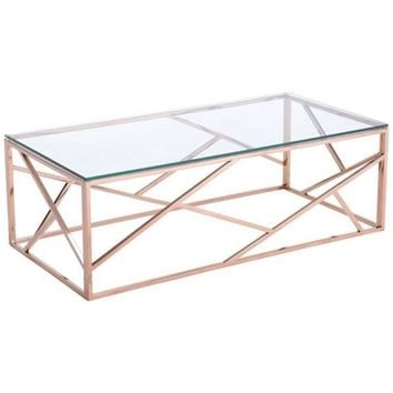ZUO Modern Cage Coffee Table Rose Gold 100180 Living Consoles
