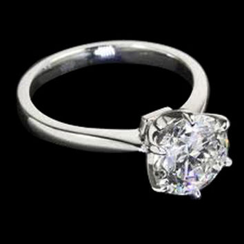 Platinum F VS1 Round 1.25 carat diamond solitaire engagement ring prong setting