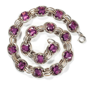 Vintage Art Deco Necklace Silver Ring Purple Glass Diamond Shape Antique 1930s  Art Deco Jewelry