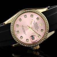 ROLEX men and women tide brand fashion quartz watch F-SBHY-WSL Golden case + pink dial