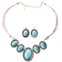 YAN & LEI Hot Sale Tibet Silver Collar Choker Turquoise Blue Bead Stone Necklace Earrings Set