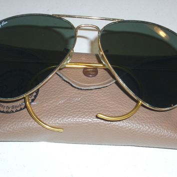 1980's 58mm VINTAGE B&L RAY BAN Z0282 WRAP CABLE TEMPLES G15 AVIATOR SUNGLASSES