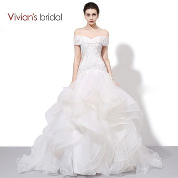 Vivian's Bridal Boat Neck Off Shoulder Ruffled Mermaid Wedding Dress Lace Sequin Bridal Wedding Gown WD450-2