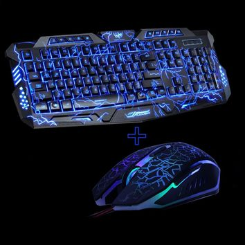 M200 Purple/Blue/Red LED Breathing Backlight Pro Gaming Keyboard & Mouse Combo | USB Wired Full Key Professional Mouse & Keyboard
