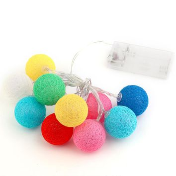 10PCS LED Cotton Christmas Ball Light Dry Battery 1.2M String Lights for Banquet Christmas Decorations Home and Trees