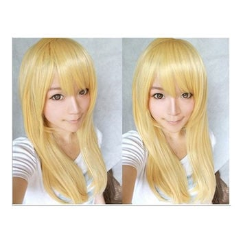 Wonderland Long 60cm Blonde Straight Synthetic Cosplay Wig   milk golden