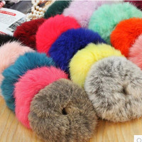 1 Pc  Genuine Rabbit Fur Hair Band Women Accessory Fluffy Headband Hair Rings Hair Ties holder Elastic Scrunches Para El Pelo