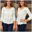 Panama Ivory Sheer Lace Crochet Top