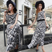 Black Retro Print Cap Sleeve Waist Wrap Midi Dress
