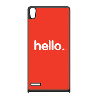 Hello Black Silicon Rubber Case for Huawei P6 by textGuy