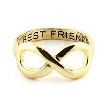 Best Friends Forever Ring Gold Tone Infinity Symbol BFF Statement RL69 Fashion Jewelry