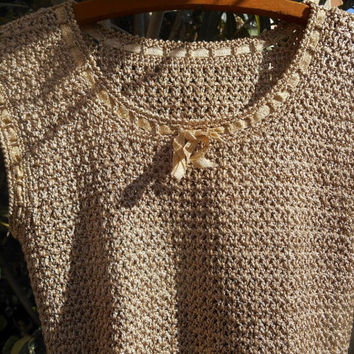 Gold Top Hand Knit Sleeveless Gold Bow Ribbon Trimmed Small #Goldknittop