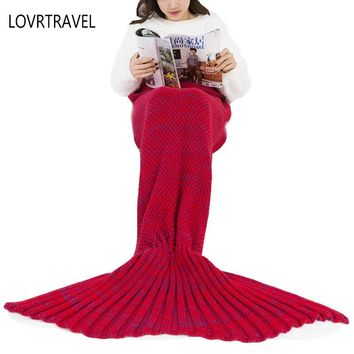 Mermaid Blanket For adult Kid Chunky Knit Blankets Mermaid Tail Throw Plaid  Yarn Knitted Handmade Crochet Plaids on the sofa