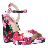 Betsey Johnson Isla Ankle Strap Dress Sandals, Black Floral, 8.5 US