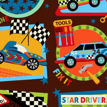 Baby Boy Brown Racecar Print Flannel Fitted Crib Sheet with Matching Minky Blanket