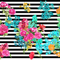 colorful rainbow floral bouquet on black & white stripes - fabric, wallpaper or giftwrap by katarina - Spoonflower