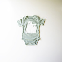Polar Bears Organic Baby Bodysuit in Mint - Size 0-3m