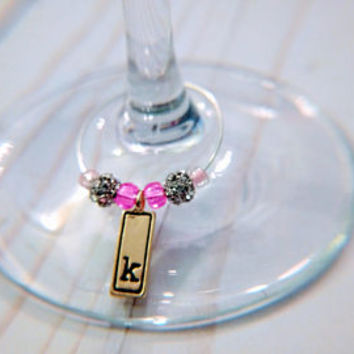 Personalized Wedding Wine Charms- Initial Wine Charms - Letter Wine Charms - Bridal Party Gifts - Wedding Party Gifts
