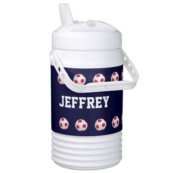 Personalized Igloo Beverage Cooler Soccer Blue
