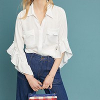 Maryn Ruffle-Sleeve Buttondown