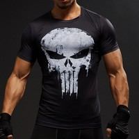 Men T-Shirt Sports Wear Marvel Hero 3D Punisher Skull Fitness Sport Shirt