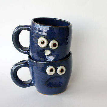Cute Coffee Mug Set His and Hers Coffee Cups by NelsonStudio
