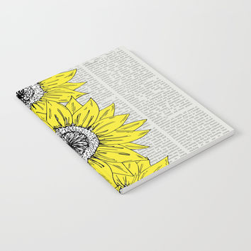 Yellow Sunfllower Stripe Notebook by JustV