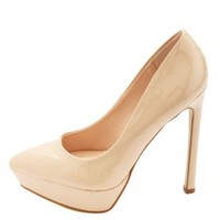 Pointed Toe Platform Pumps by Charlotte Russe - Nude