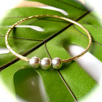 Gold Hammered Bangle, Thick, Gold and Silver Bracelet, Elegant, Gift for Her, Holiday Jewelry, Custom Order, Made for You