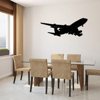 Boeing 747 Airplane Silhouette Vinyl Wall Decal Sticker