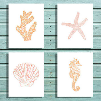Digital File Pink and Orange Sea Life Collection, Coral, Starfish, Shell, Seahorse, Nautical Home Nursery Kids Office Decor, Wall Art