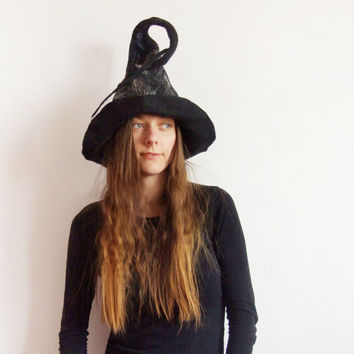 Wizard Hat - Witch Hat - Wide Brim Witch Hat Felted Wool Long Wizard Hat Black