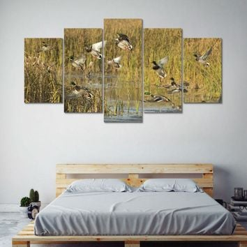 Hunting Ducks Marsh Wildlife Canvas Print Wall Art Home 5 Piece