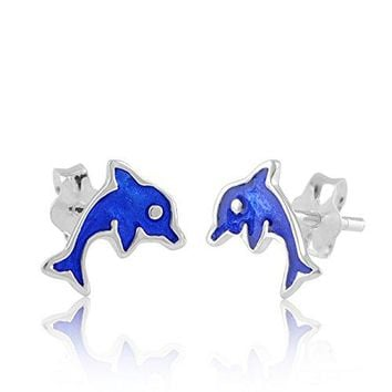 Sterling Silver Blue Dolphin Stud Earrings 9mm