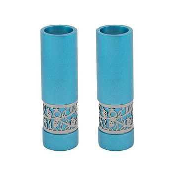 Round Candlesticks + Metal Cutout - Turquoise