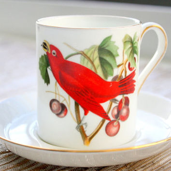 Vintage Royal Chelsea Audubon Birds Demitasse Cup and Saucer Set / Summer Tanager And Baltimore Oriole / Demitasse Cups/Tea Cups/Coffee Set